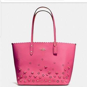 Coach Floral Applique Tote Handbag in Dahlia F 376